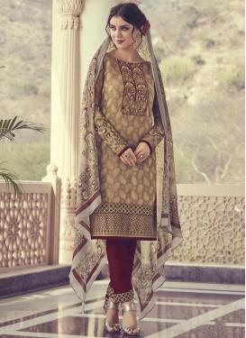 Brown and Maroon Pant Style Straight Salwar Kameez