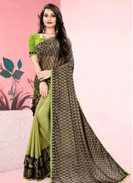 Brown and Mint Green Half N Half Trendy Saree