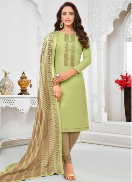 Brown and Mint Green Trendy Churidar Salwar Kameez