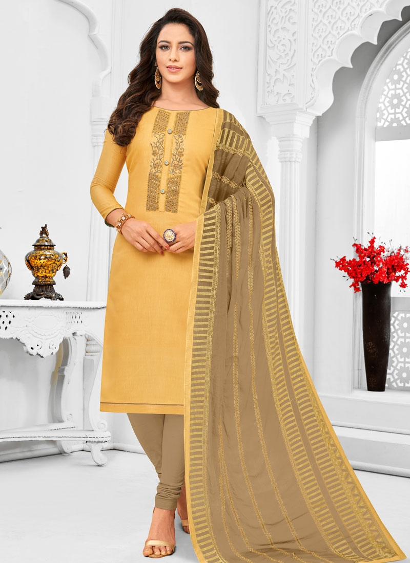 Brown and Mustard Cotton Silk Churidar Designer Suit