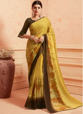 Brown and Mustard Printed Saree For Casual