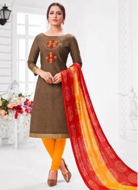 Brown and Mustard Trendy Churidar Salwar Kameez