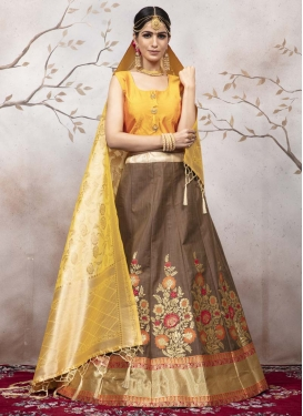 Brown and Mustard Trendy Lehenga
