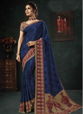 Brown and Navy Blue Crepe Silk Trendy Saree