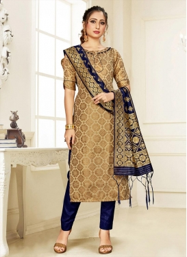 Brown and Navy Blue Pant Style Salwar Suit For Casual
