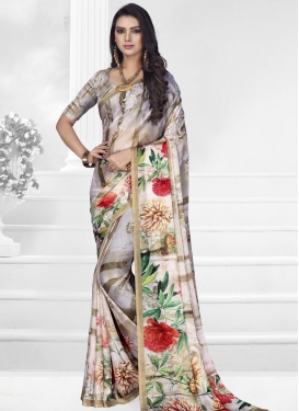 Brown and Off White Digital Print Work Designer Contemporary Style Saree