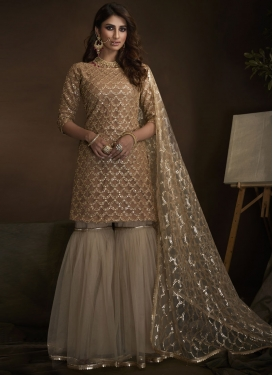 Brown and Off White Sharara Salwar Suit