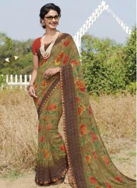 Brown and Olive Digital Print Work Designer Traditional Saree