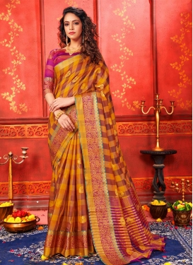 Brown and Orange Designer Traditional Saree