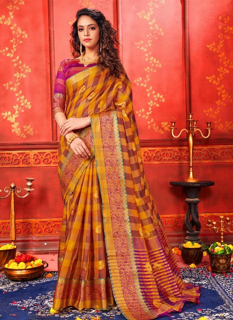 Brown and Orange Designer Traditional Saree