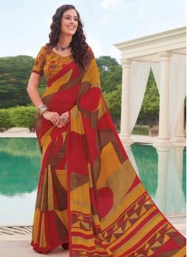 Brown and Orange Digital Print Work Trendy Classic Saree