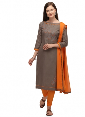 Brown and Orange Embroidered Work Trendy Churidar Suit