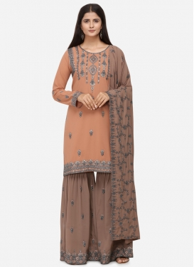 Brown and Peach Embroidered Work Sharara Salwar Kameez