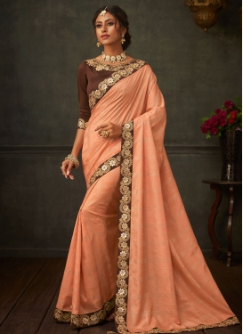 Brown and Peach Poly Silk Trendy Classic Saree