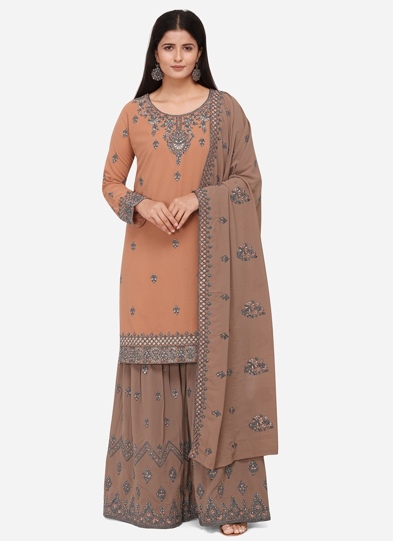 Brown and Peach Sharara Salwar Kameez For Ceremonial