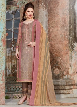 Brown and Pink Tussar Silk Pant Style Pakistani Salwar Suit