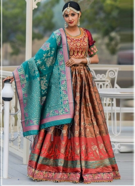 Brown and Red A Line Lehenga Choli For Festival
