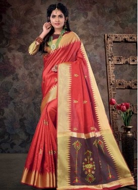 Brown and Red Art Silk Contemporary Style Saree