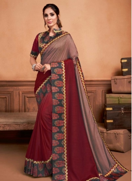 Brown and Red Designer Traditional Saree