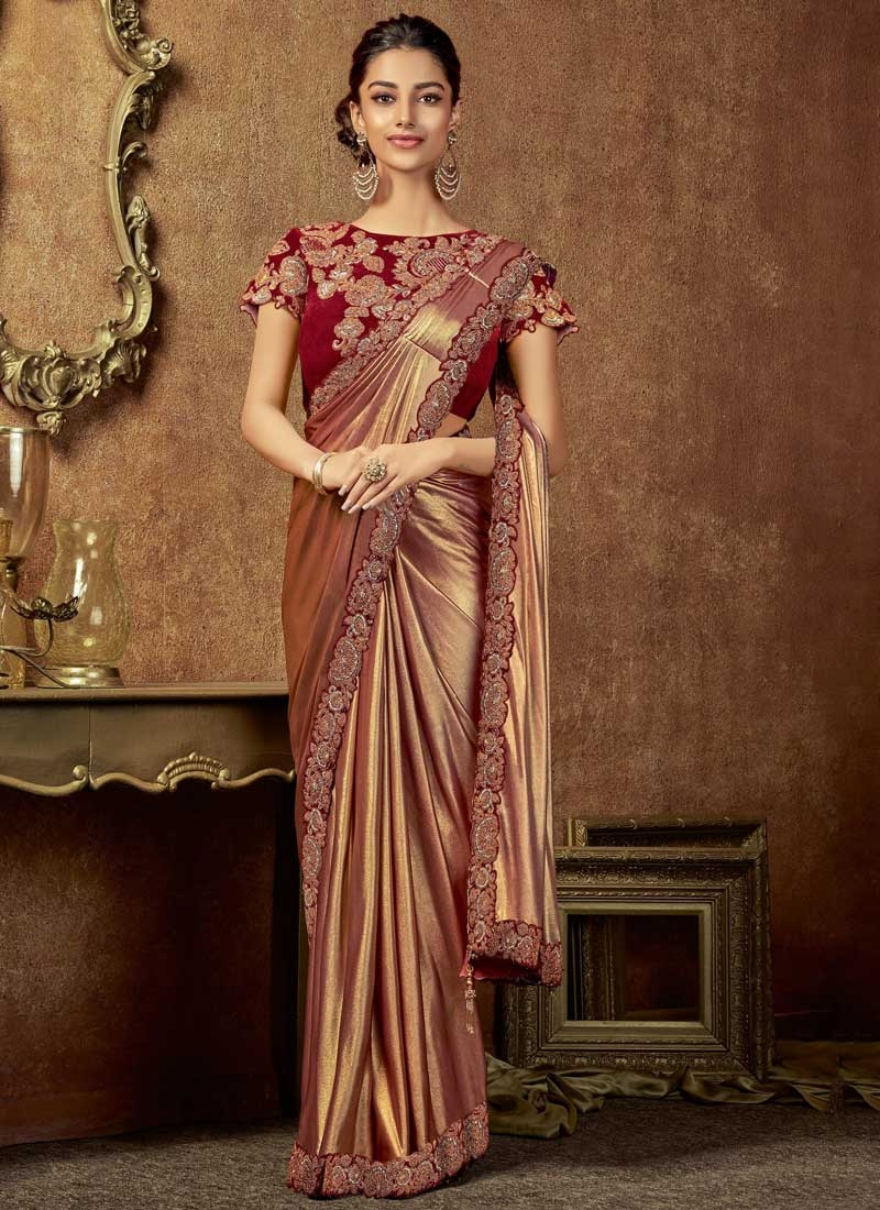 Brown and Red Embroidered Work Designer Traditional Saree