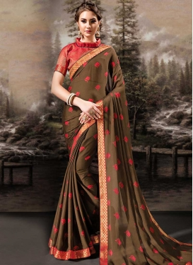 Brown and Red Lace Work Trendy Classic Saree
