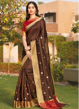 Brown and Red Woven Work Designer Contemporary Style Saree