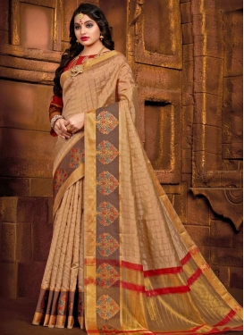 Brown and Red Woven Work Designer Traditional Saree