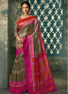 Brown and Rose Pink Art Silk Trendy Classic Saree