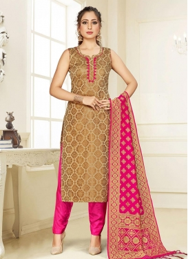 Brown and Rose Pink Pant Style Classic Salwar Suit For Casual