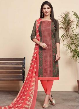 Brown and Salmon Churidar Salwar Suit