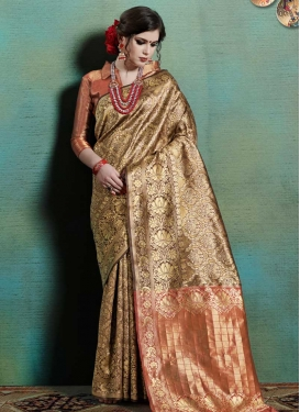 Brown and Salmon Designer Contemporary Saree For Casual