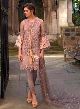 Brown and Salmon Pant Style Pakistani Salwar Suit
