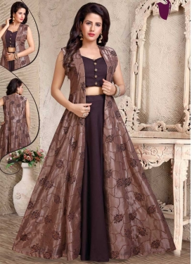 Brown and Wine Readymade Designer Suit For Festival