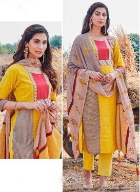 Brown and Yellow Cotton Readymade Designer Suit
