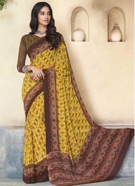Brown and Yellow Digital Print Work Trendy Classic Saree