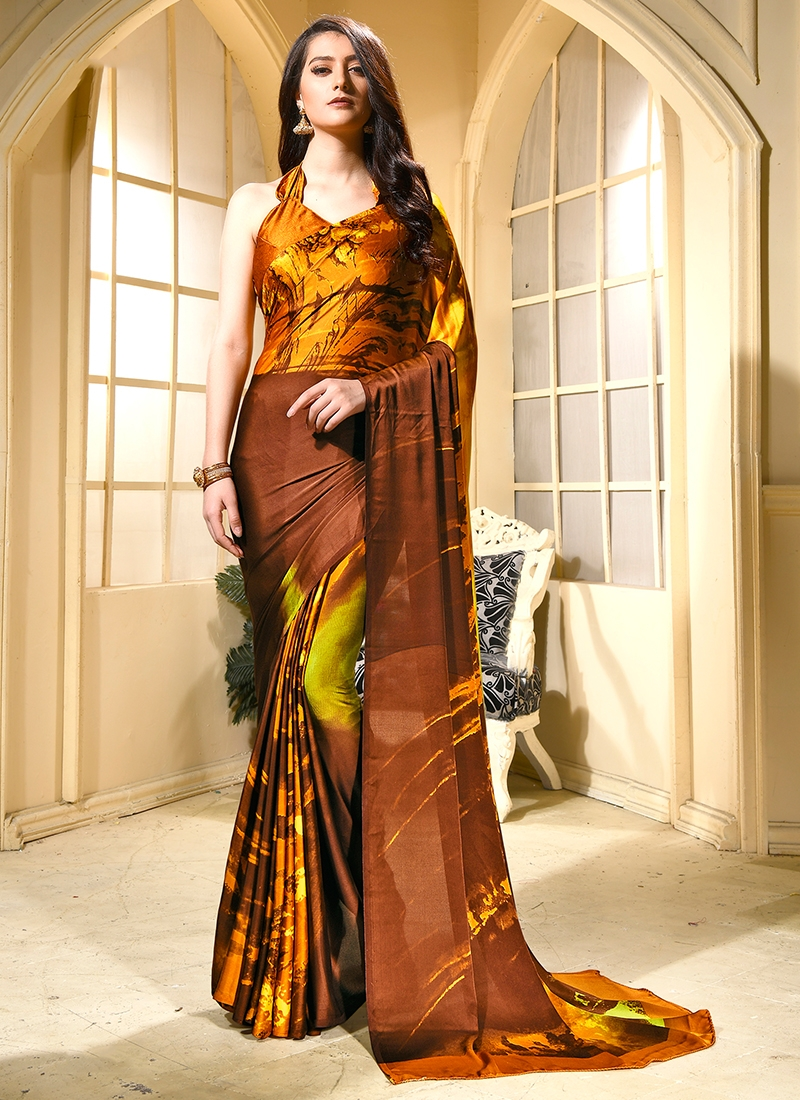 Brown Festival Faux Crepe Trendy Saree