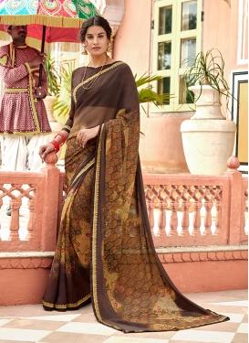 Brown Printed Casual Saree