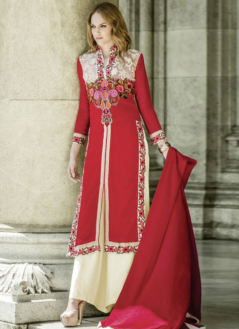 Capricious Floral Work Palazzo Style Designer Suit