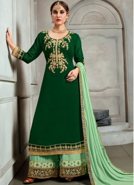 Capricious Green Embroidered Faux Georgette Palazzo Salwar Kameez