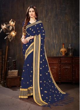 Captivating Art Silk Navy Blue Weaving Silk Saree