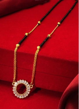 Catchy Gold Rodium Polish Beads Work Mangalsutra For Ceremonial