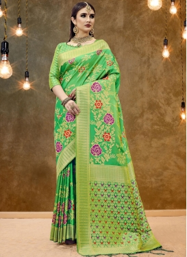 Catchy Mint Green Classic Designer Saree