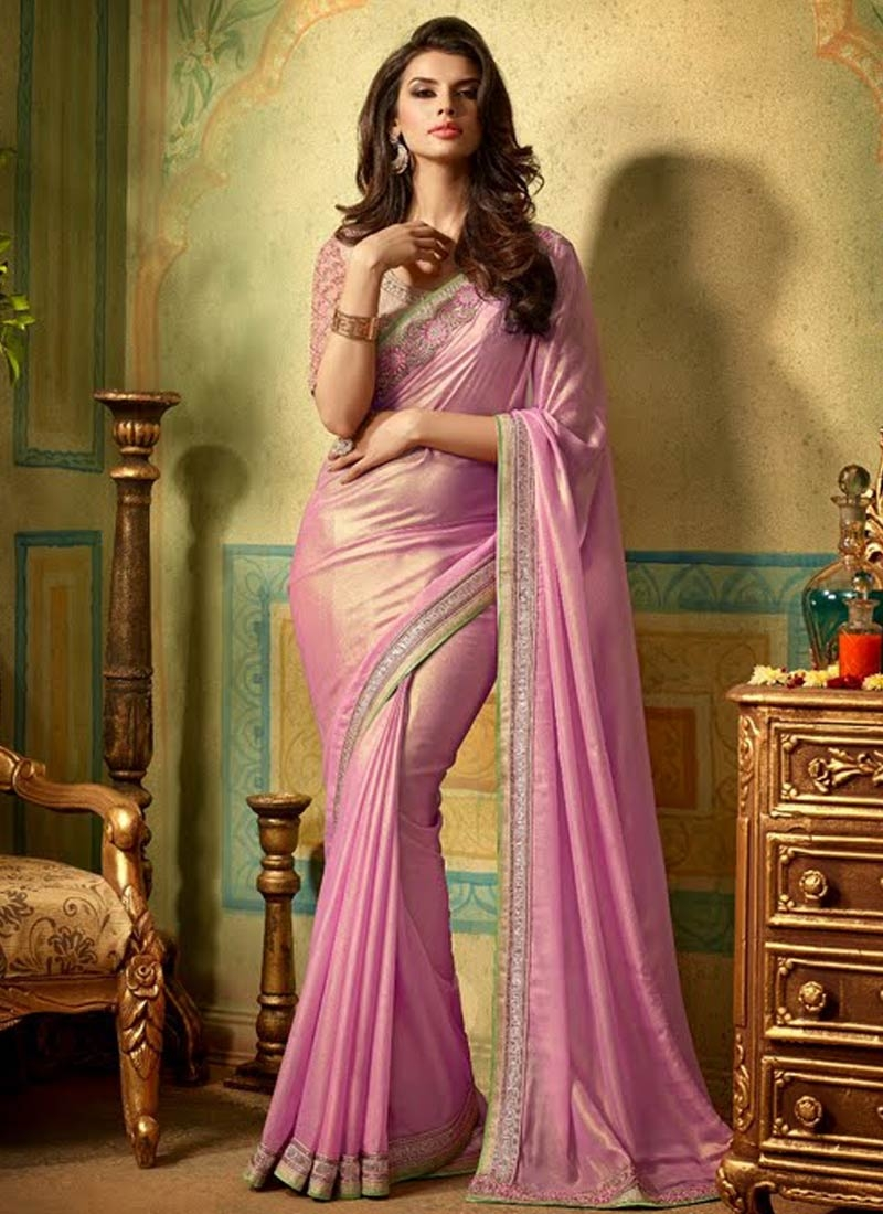 Catchy Shimmer Georgette Hot Pink Color Party Wear Saree