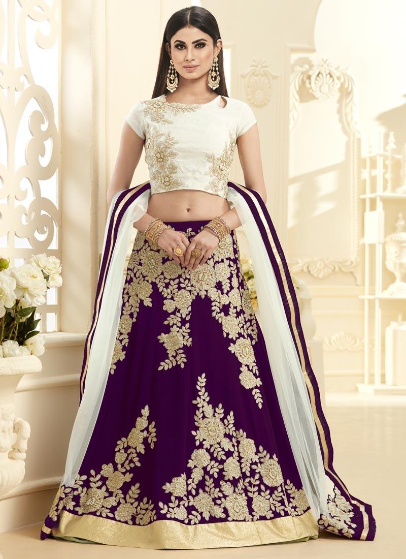 Celestial Cutdana Work Off White and Purple Mouni Roy Trendy A Line Lehenga Choli