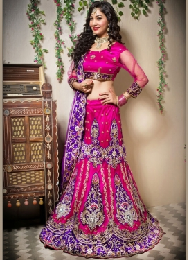 Celestial Embroidered Net Rose Pink Designer Lehenga Choli