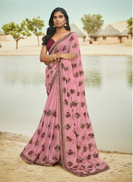 Celestial Embroidered Pink Traditional Saree
