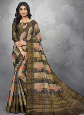 Chanderi Cotton Beige and Black Trendy Classic Saree