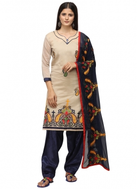 Chanderi Cotton Beige and Navy Blue Trendy Salwar Kameez