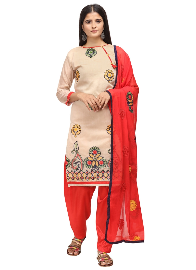 Chanderi Cotton Beige and Red Embroidered Work Trendy Straight Salwar Suit