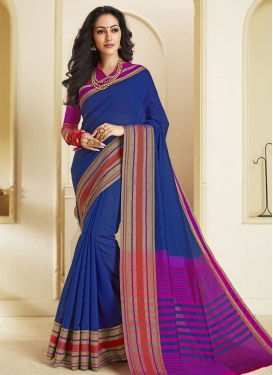 Chanderi Cotton Blue and Magenta Woven Work Designer Contemporary Saree